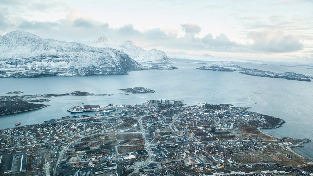 Nuuk showing general coastal views, a city and snow