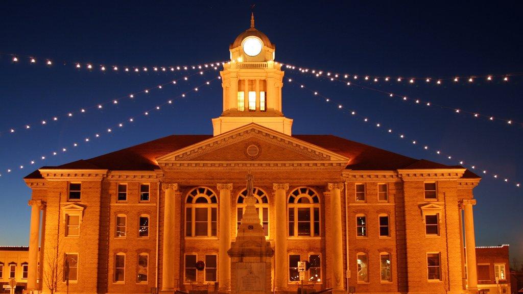 Jasper featuring night scenes and heritage architecture