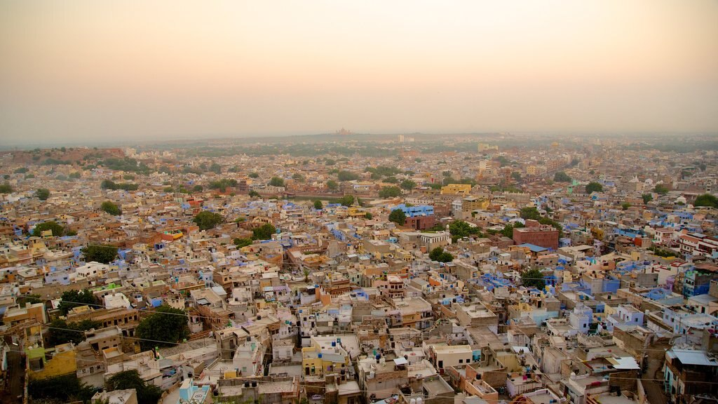 Jodhpur featuring a sunset and a city