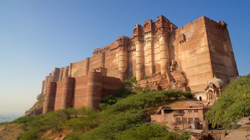 Mehrangarh Fort showing a castle, heritage architecture and heritage elements