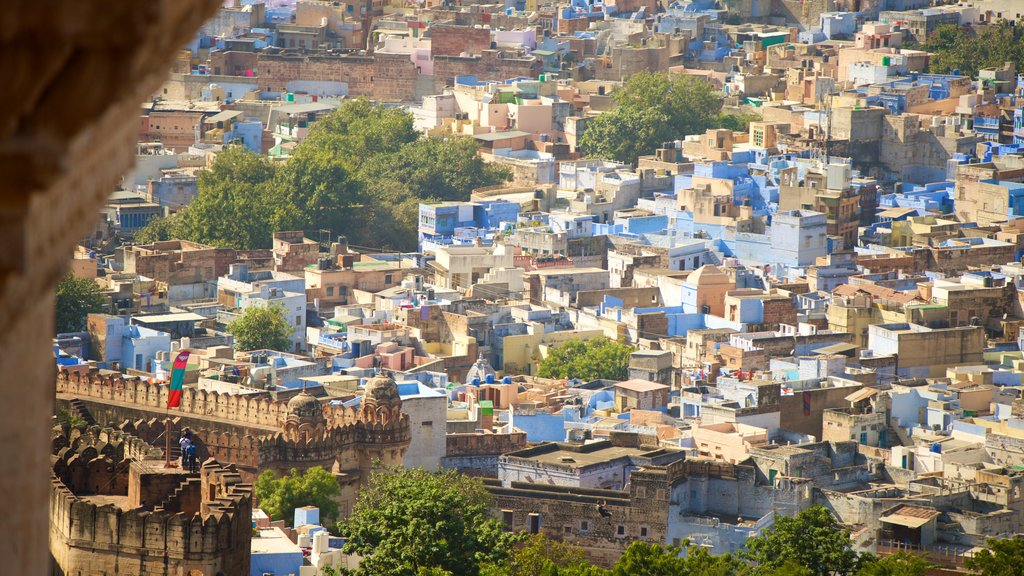 Mehrangarh Fort featuring a city