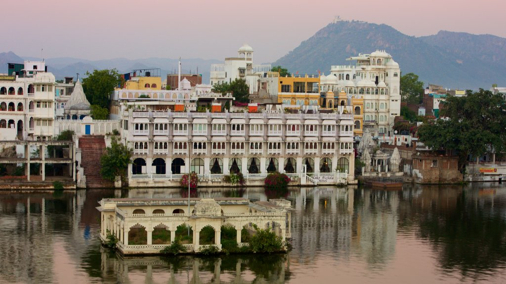 Udaipur featuring a city and a lake or waterhole
