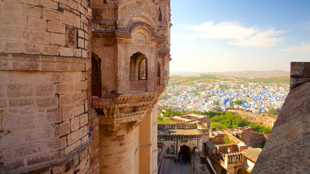 Mehrangarh Fort which includes heritage elements, a city and a castle