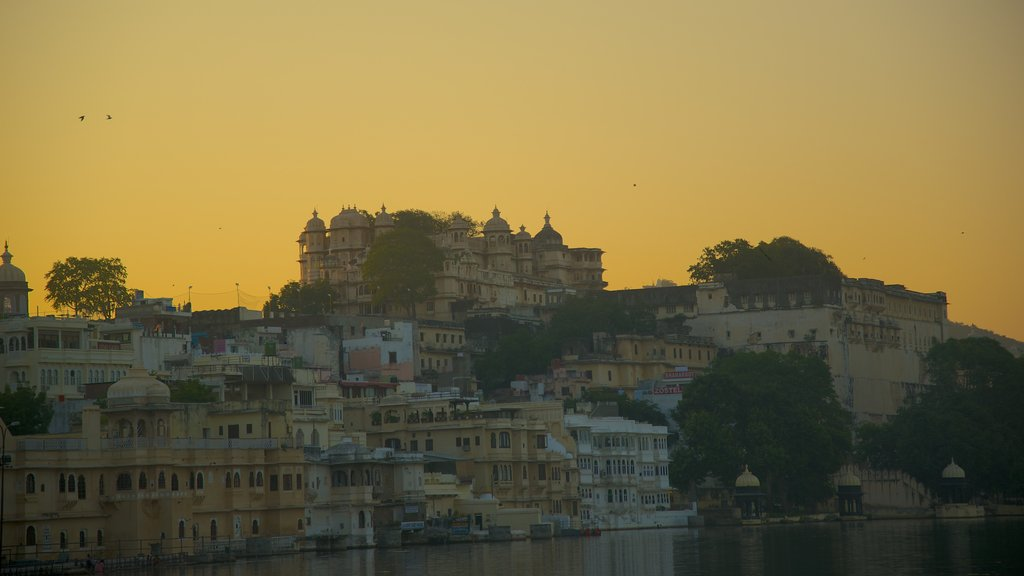 City Palace showing a city, a river or creek and a sunset