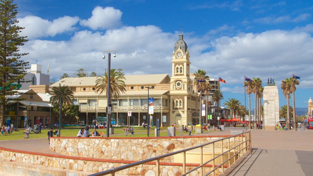 Glenelg Jetty featuring a square or plaza, heritage architecture and city views