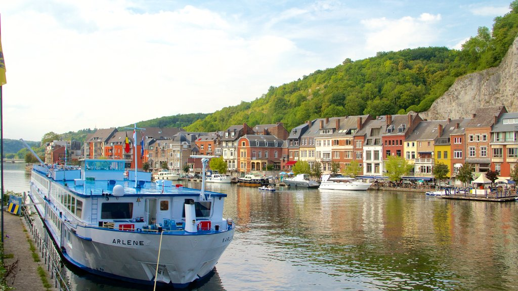 Dinant featuring a lake or waterhole, heritage architecture and boating