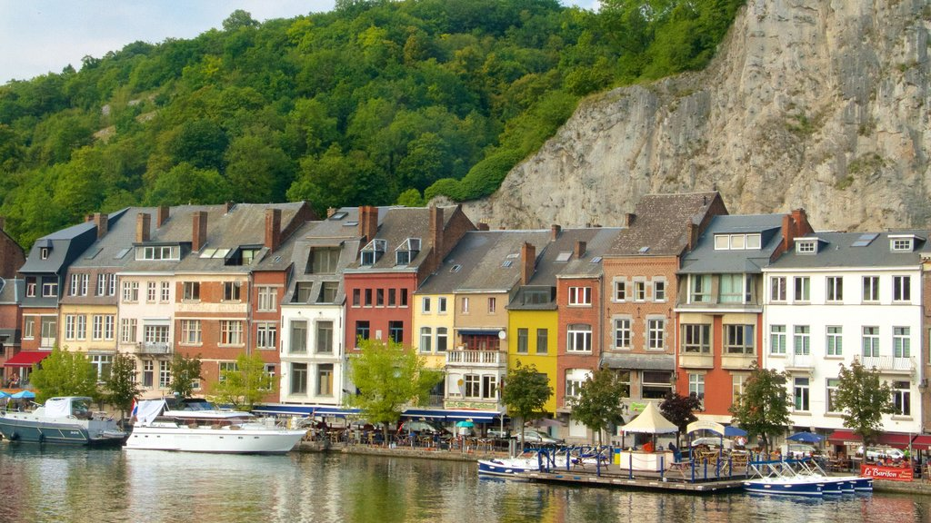 Dinant featuring a lake or waterhole, boating and heritage architecture