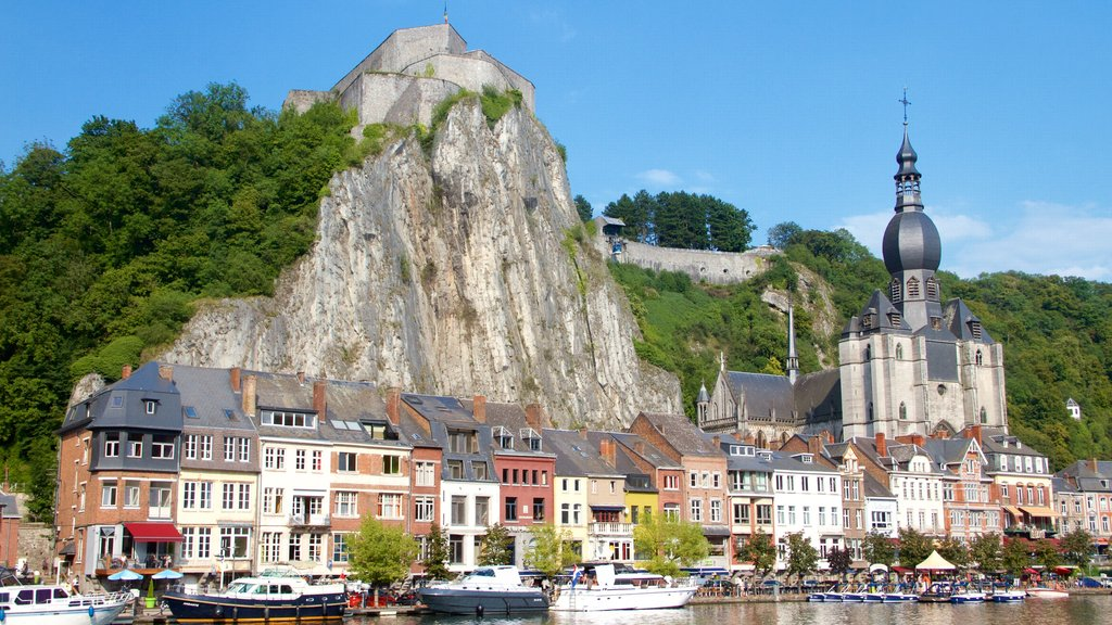 Dinant which includes boating, heritage architecture and a church or cathedral