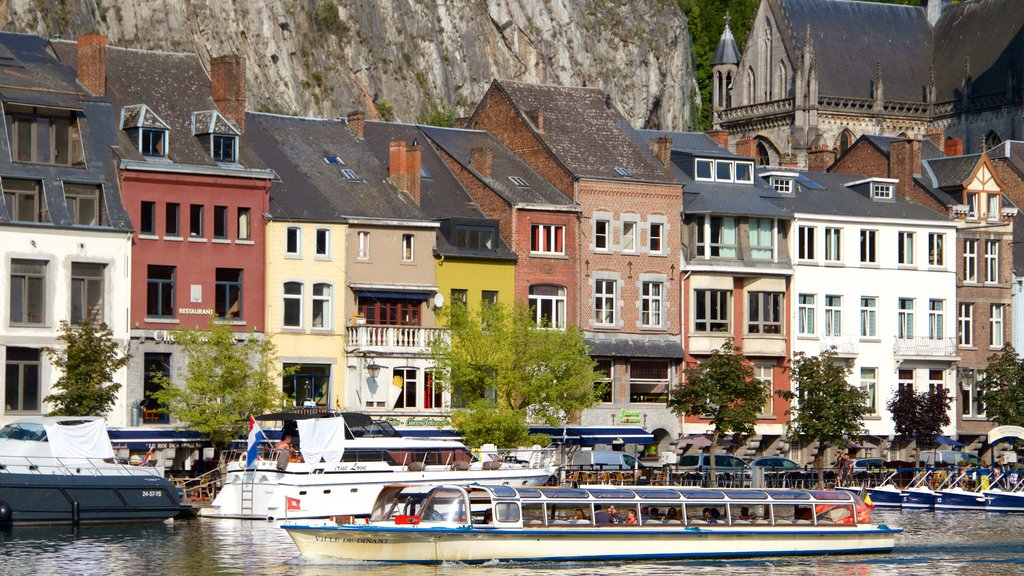 Dinant showing boating, heritage architecture and a lake or waterhole