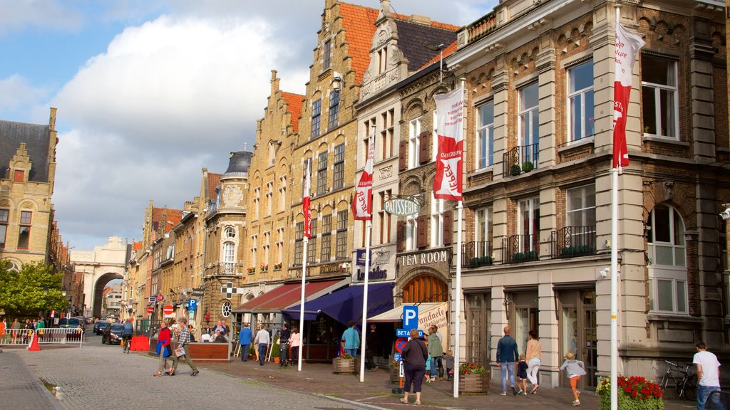 Ypres Market Square featuring a square or plaza and heritage architecture