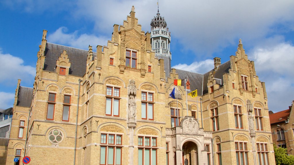 Ypres Market Square featuring heritage architecture and heritage elements