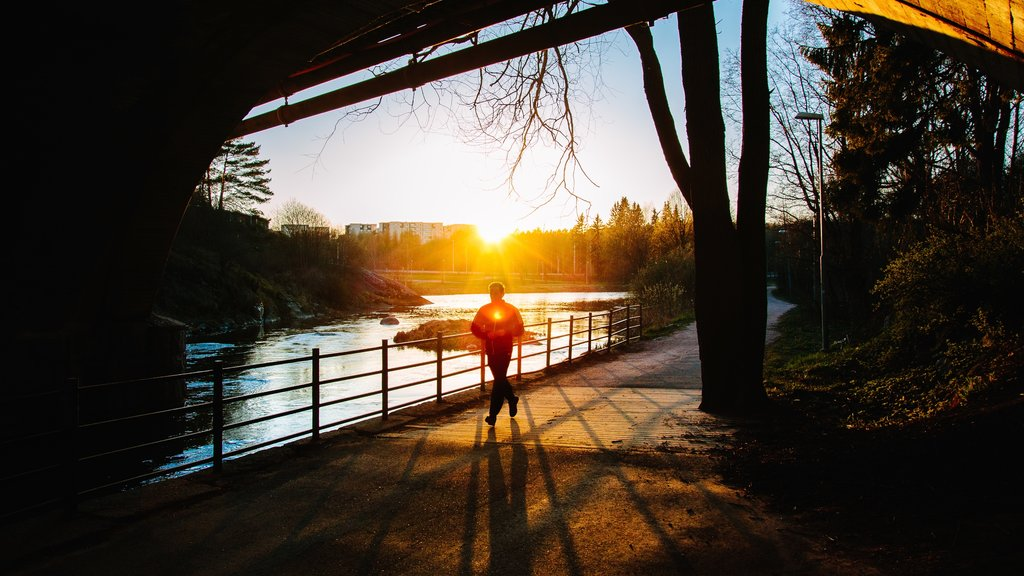 Vantaa featuring a sunset, hiking or walking and a lake or waterhole