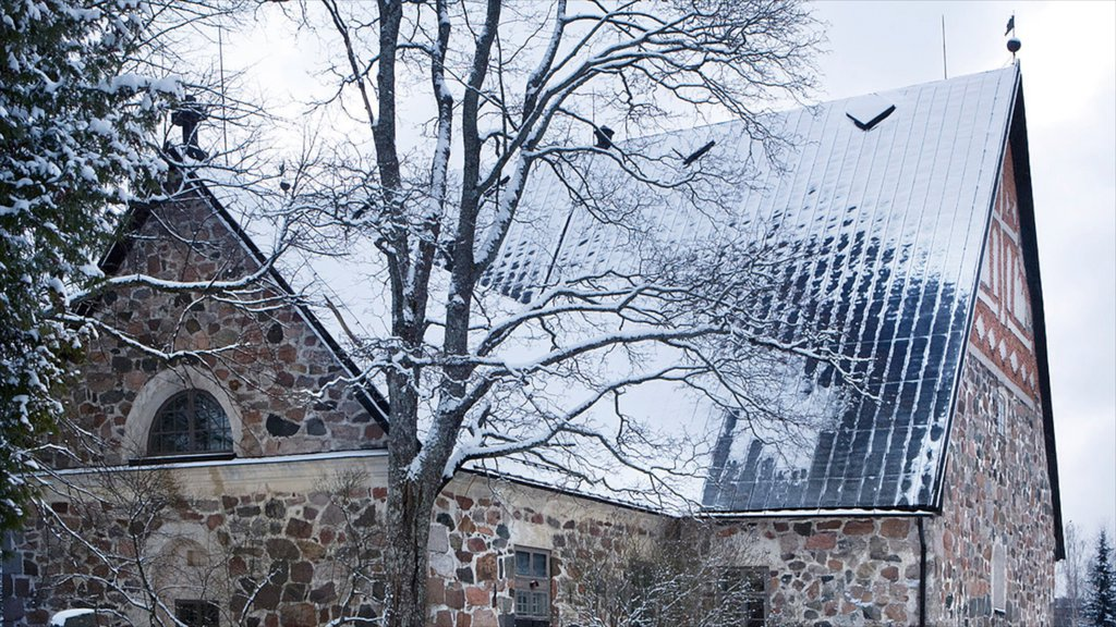 Espoo which includes heritage architecture and snow