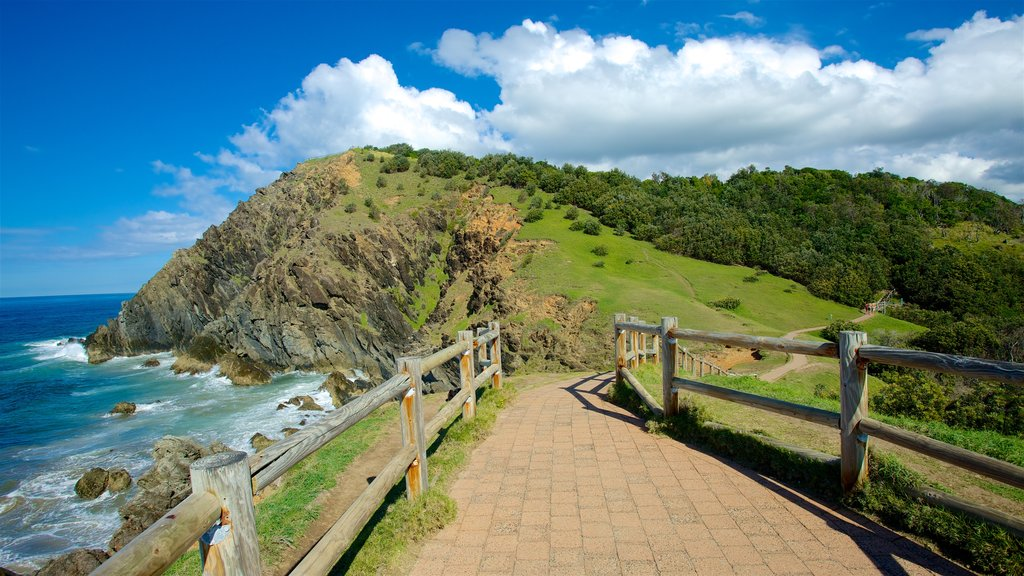 Byron Bay showing rocky coastline, general coastal views and mountains