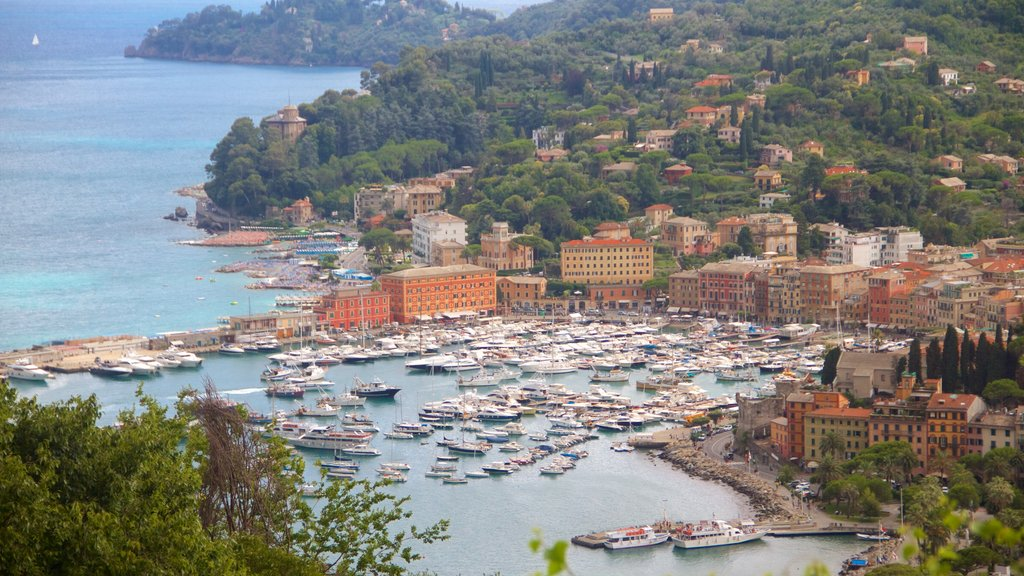 Portofino which includes a coastal town, a bay or harbor and boating