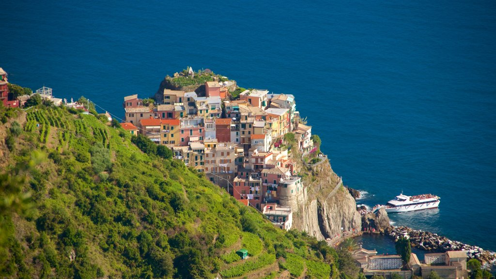 Manarola showing rugged coastline, a coastal town and general coastal views