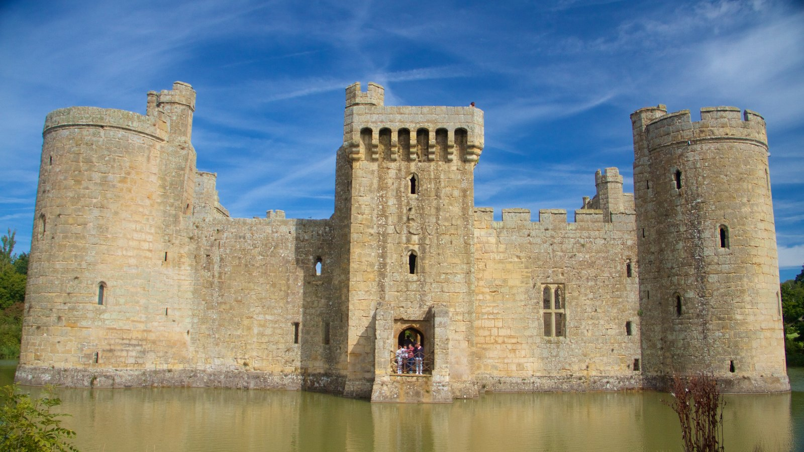 Bodiam Castle featuring heritage elements and a castle