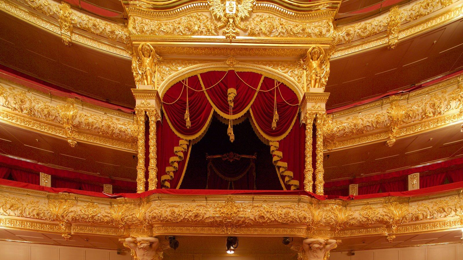 Teatro Bolshoi mostrando arquitetura de patrimônio, vistas internas e cenas de teatro