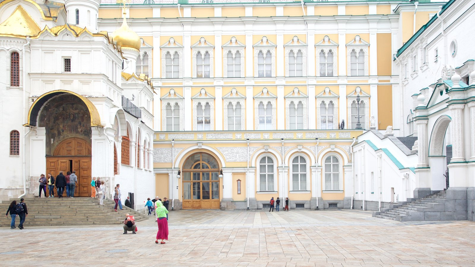 Kremlin Armoury Museum featuring a square or plaza and heritage architecture