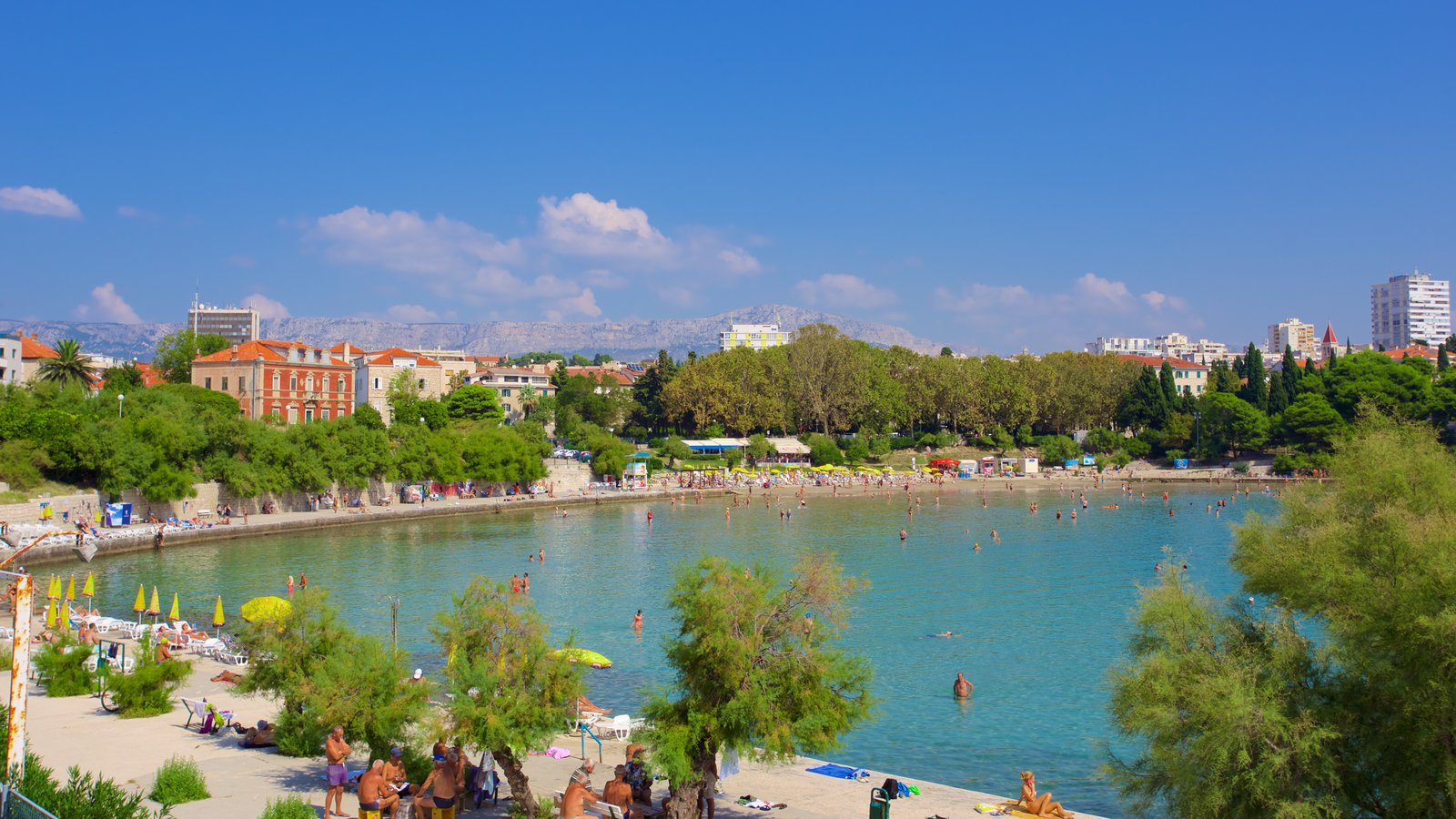 Bacvice Beach showing a city and general coastal views