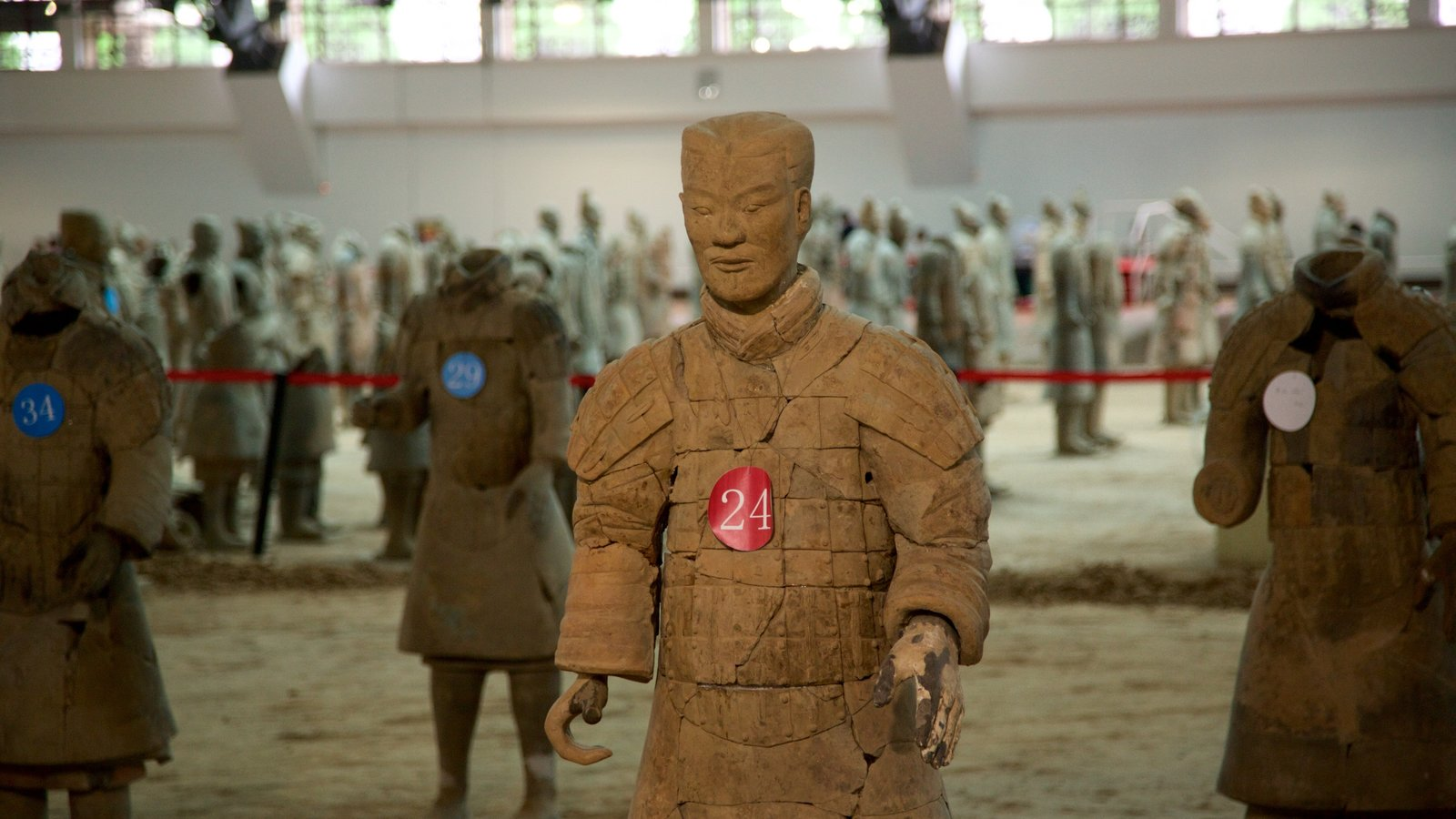 Terracota Army showing interior views and a statue or sculpture