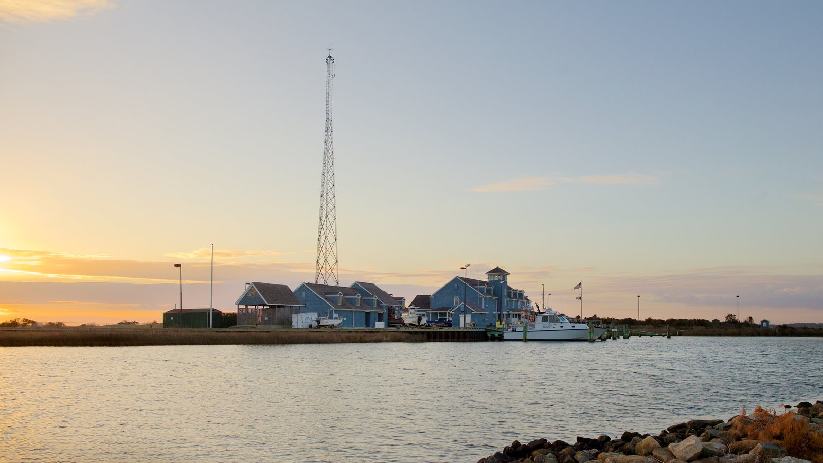 Oregon Inlet Fishing Center featuring fishing, boating and a bay or harbor