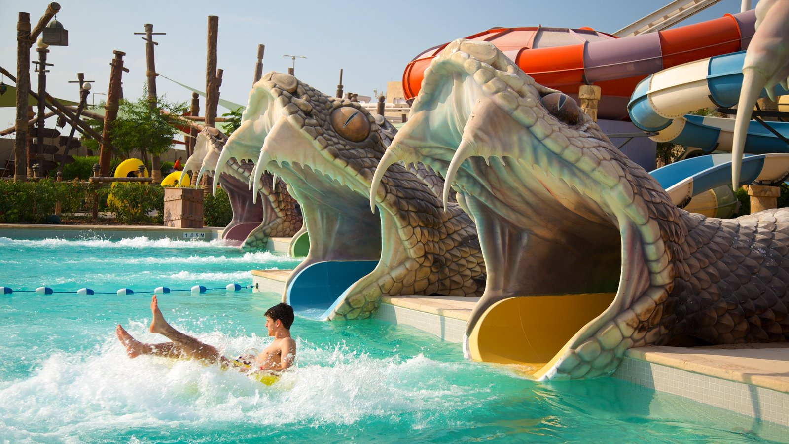Yas Island showing a waterpark as well as an individual male