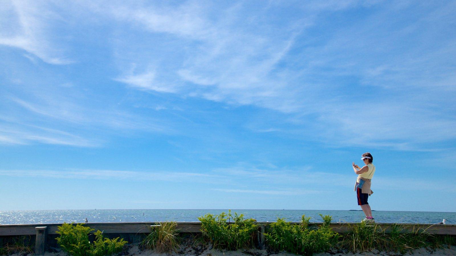 West Dennis Beach which includes general coastal views as well as an individual femail