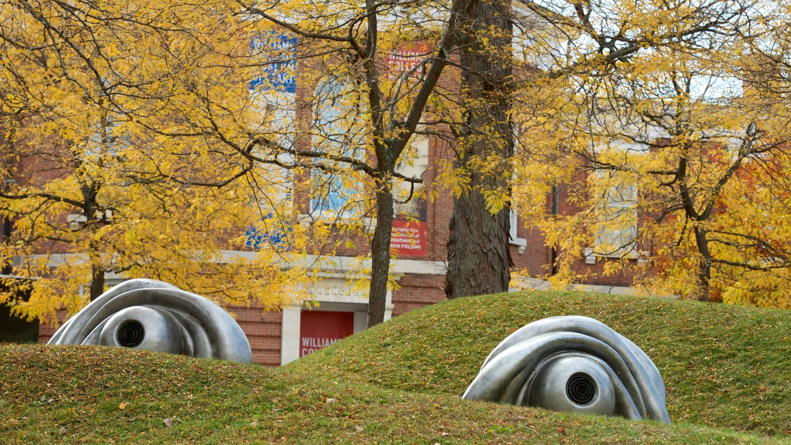 Williamstown showing outdoor art and fall colors