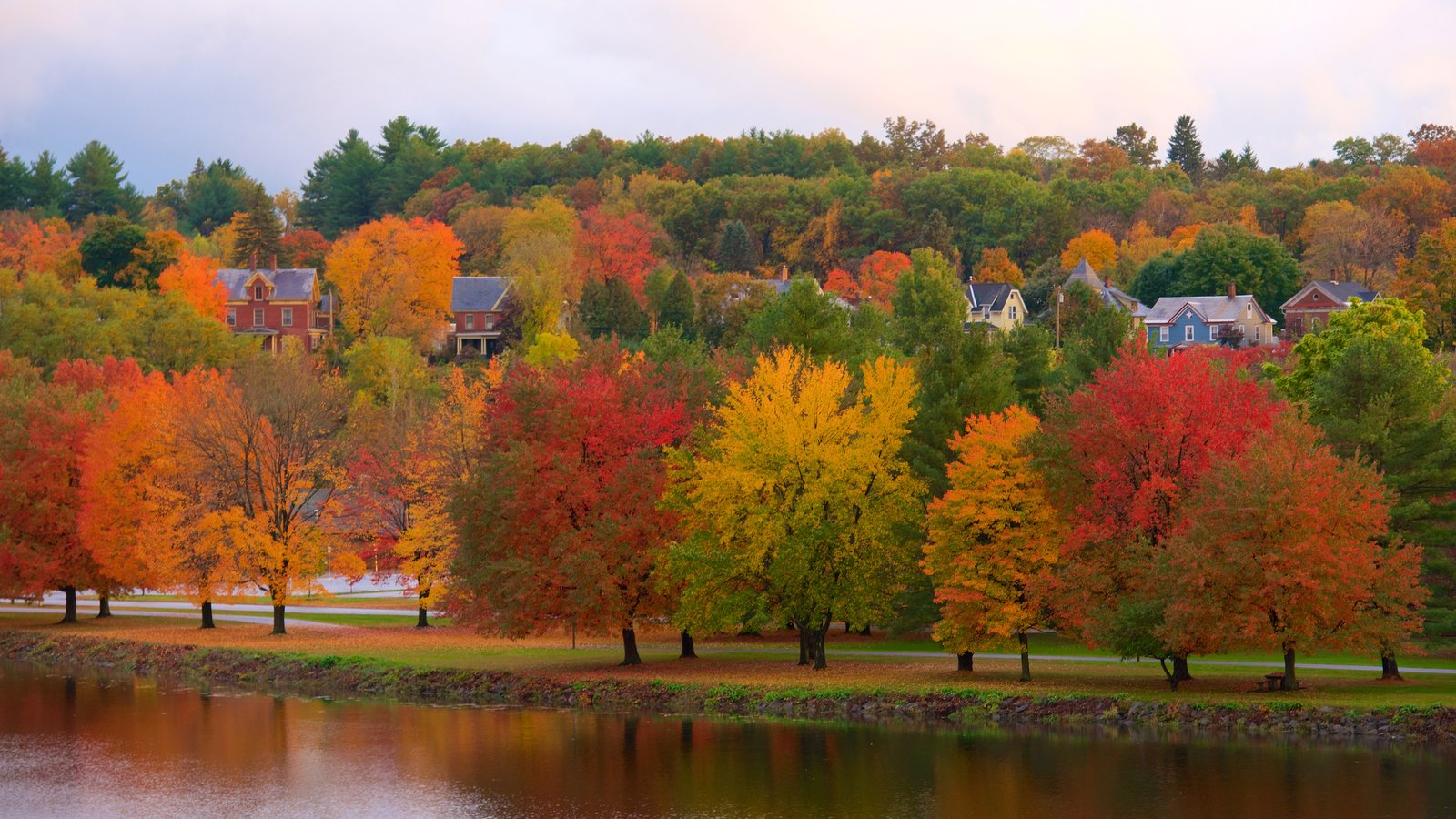 Turners Falls which includes a river or creek and autumn leaves