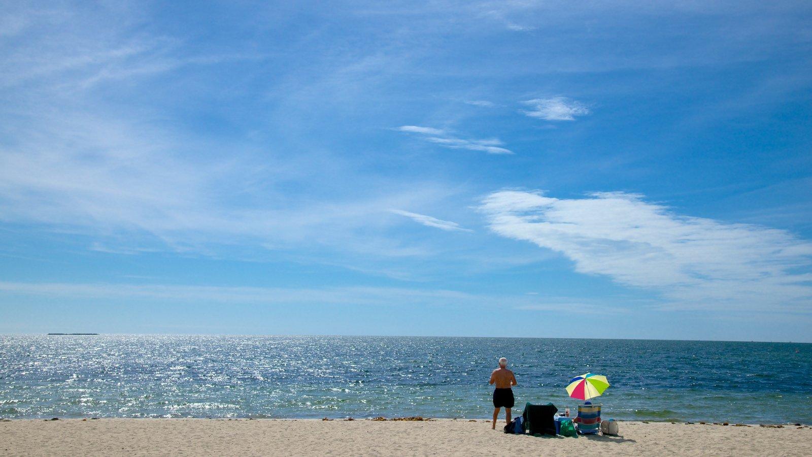 West Dennis Beach featuring a beach as well as an individual male