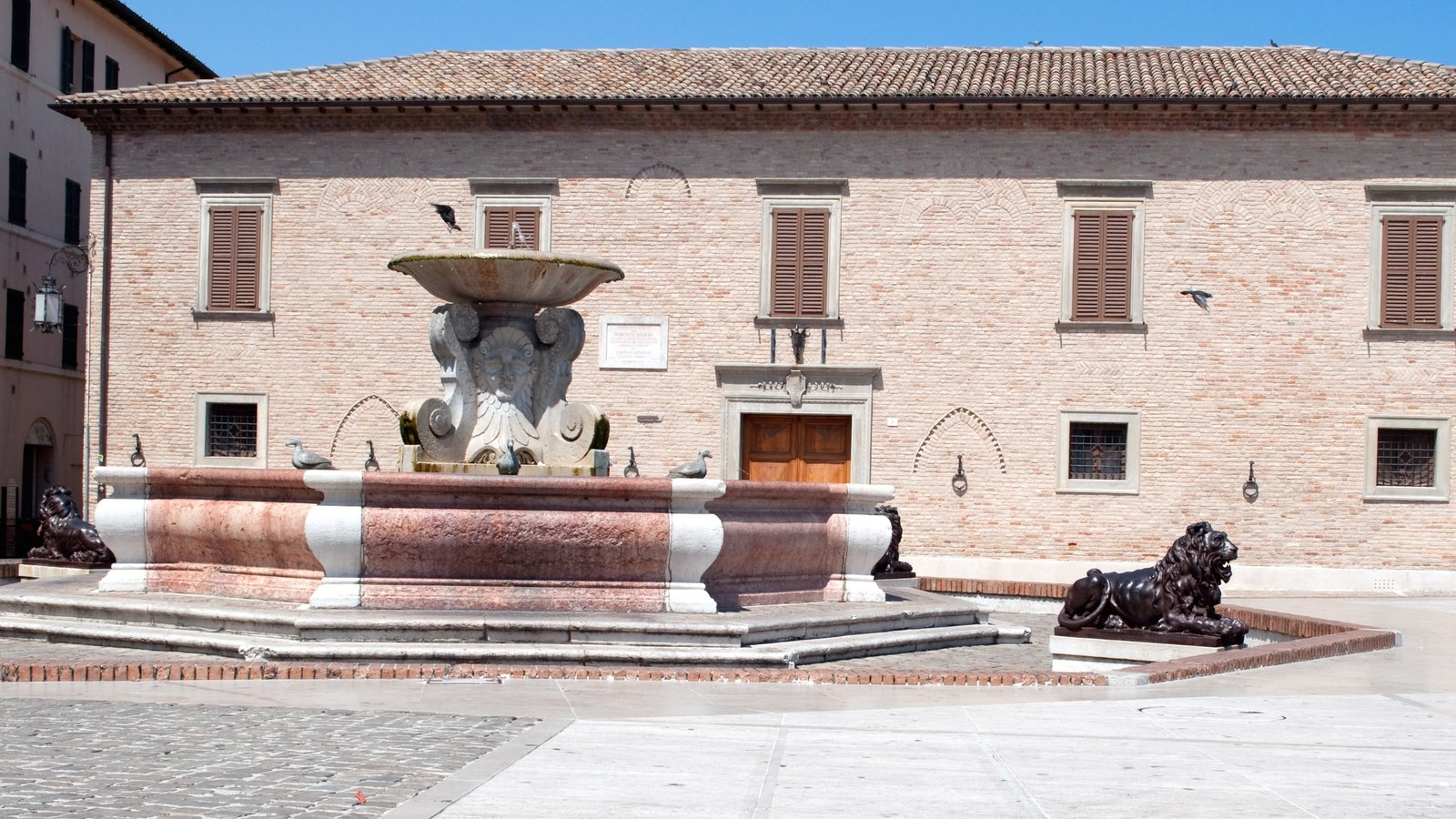 Senigallia which includes a fountain and a square or plaza