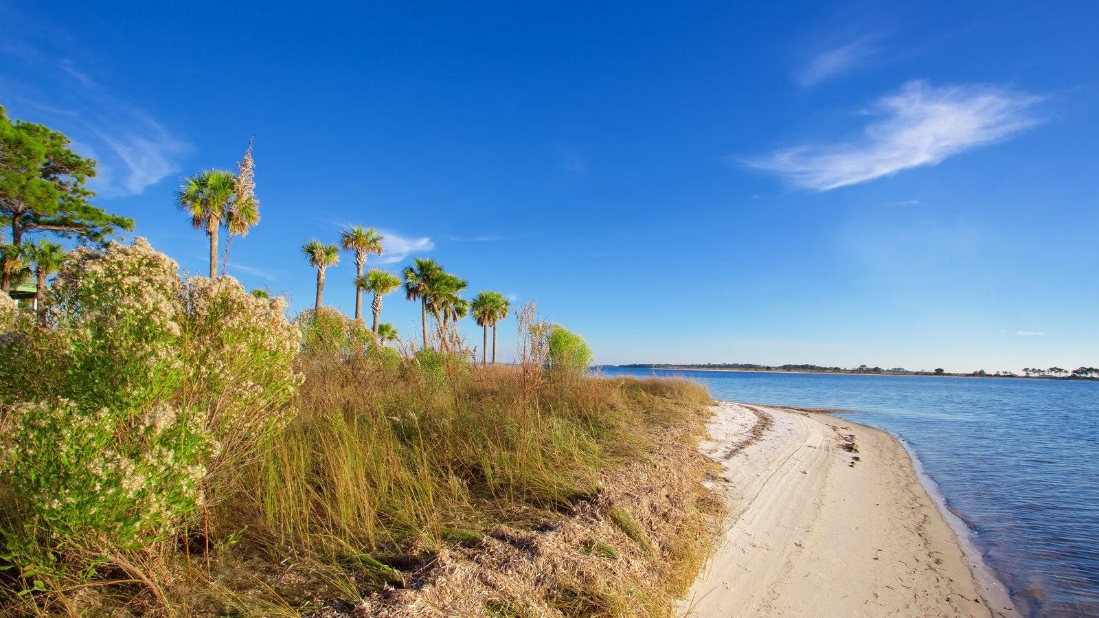 Upper Grand Lagoon mostrando um lago ou charco, uma praia de areia e cenas tranquilas