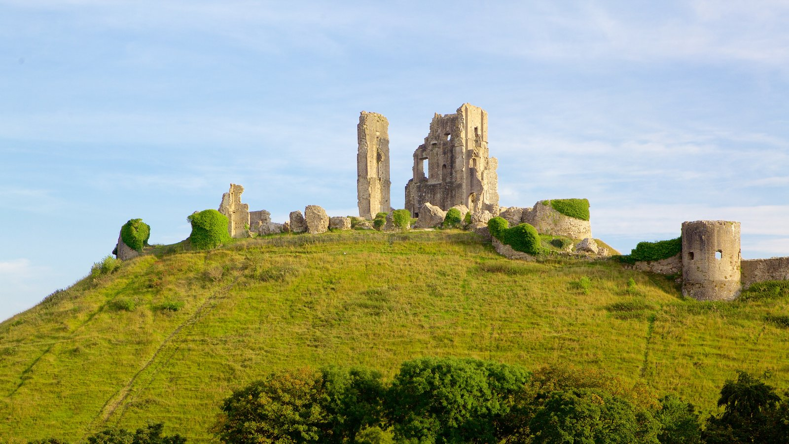 Corfe Castle which includes heritage elements, chateau or palace and building ruins