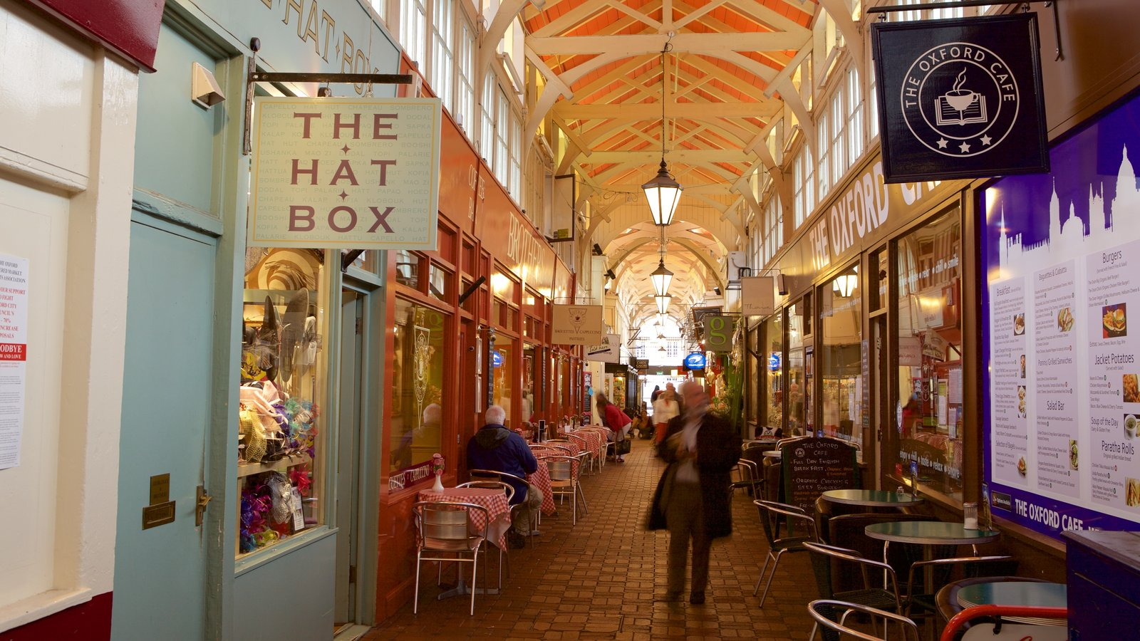 Covered Market showing shopping and cafe lifestyle