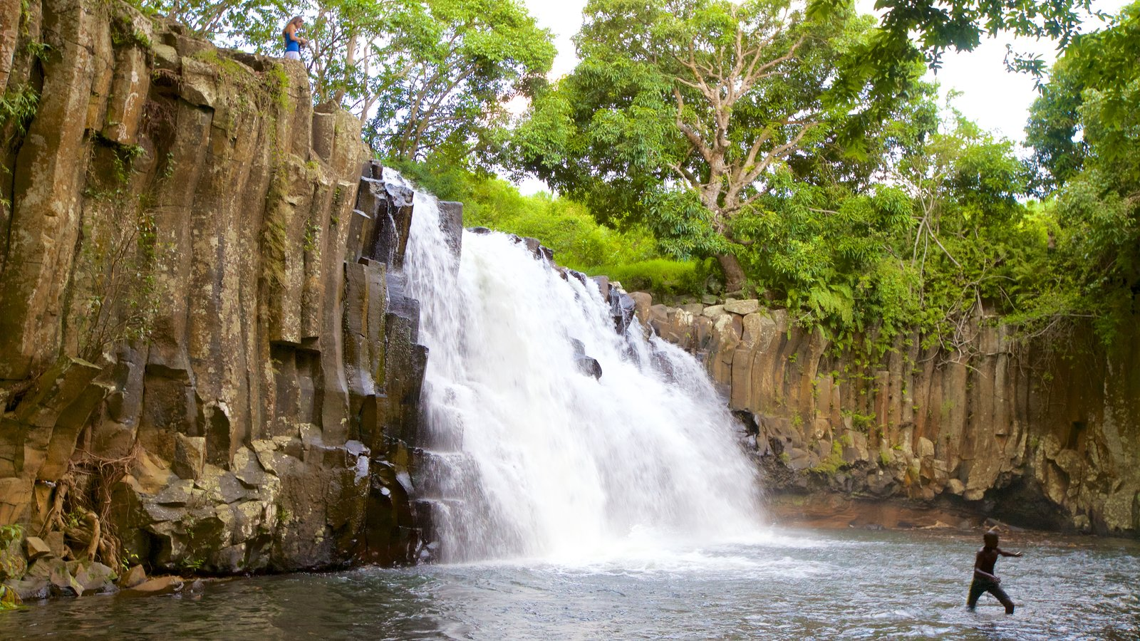 Black River Gorges National Park featuring a lake or waterhole, a gorge or canyon and a waterfall