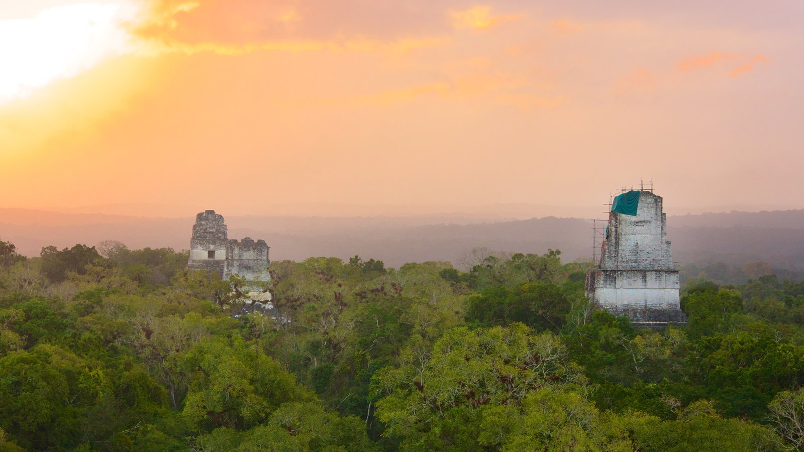 Tikal featuring tranquil scenes, forest scenes and a sunset