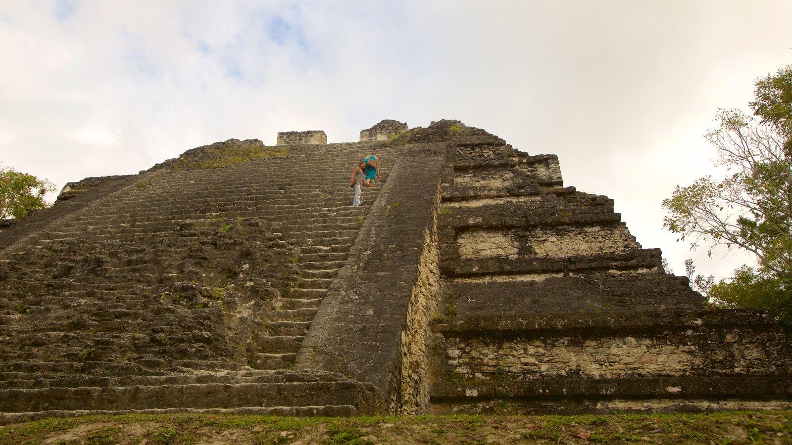 Tikal que inclui elementos de patrimônio e um monumento
