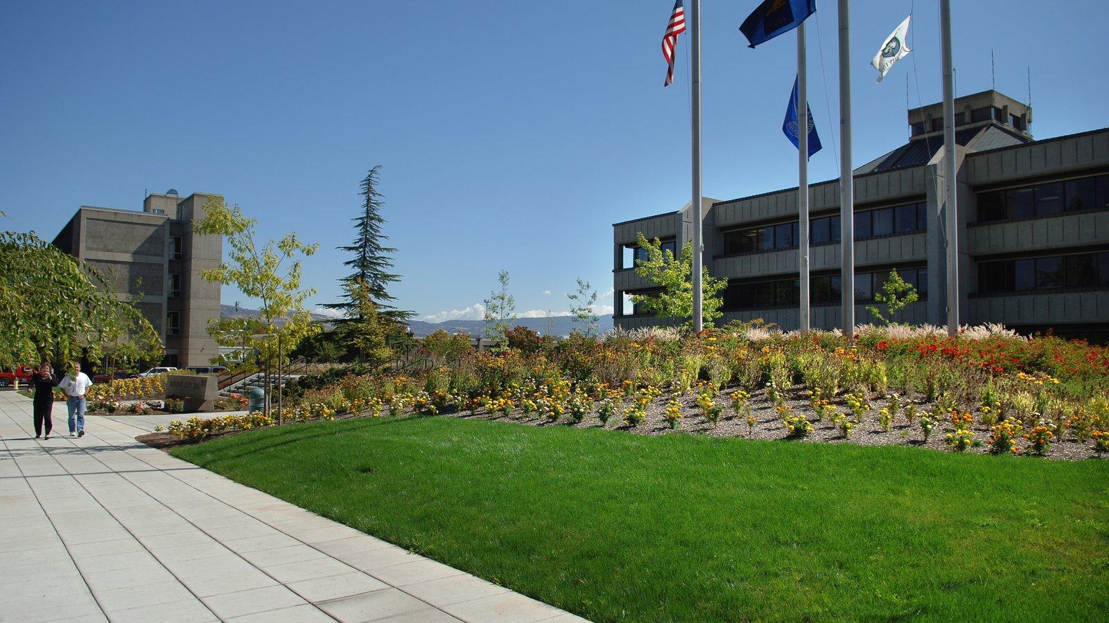 Medford mostrando un jardín y un edificio administrativo