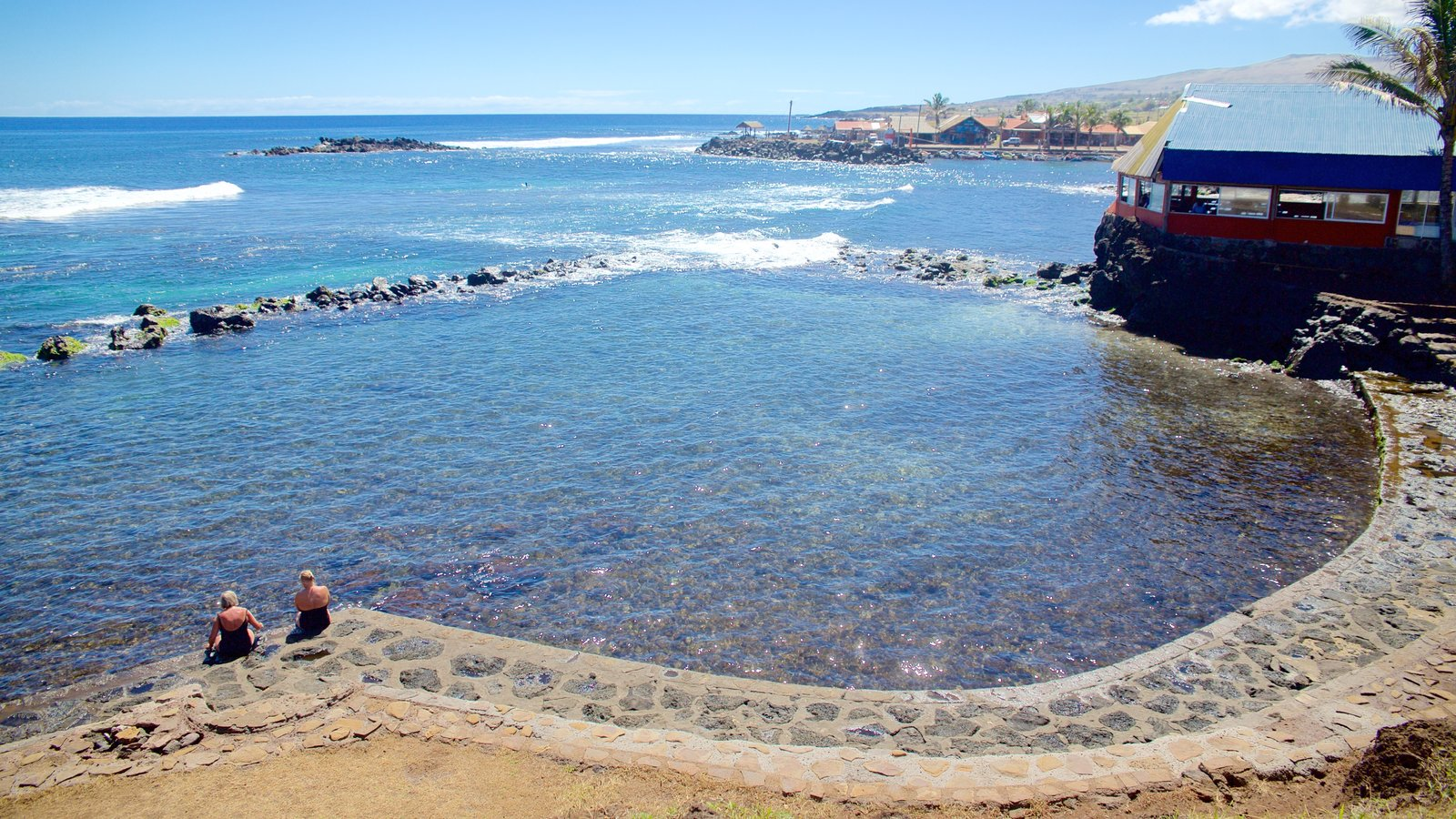 Hanga Roa ofreciendo vistas generales de la costa