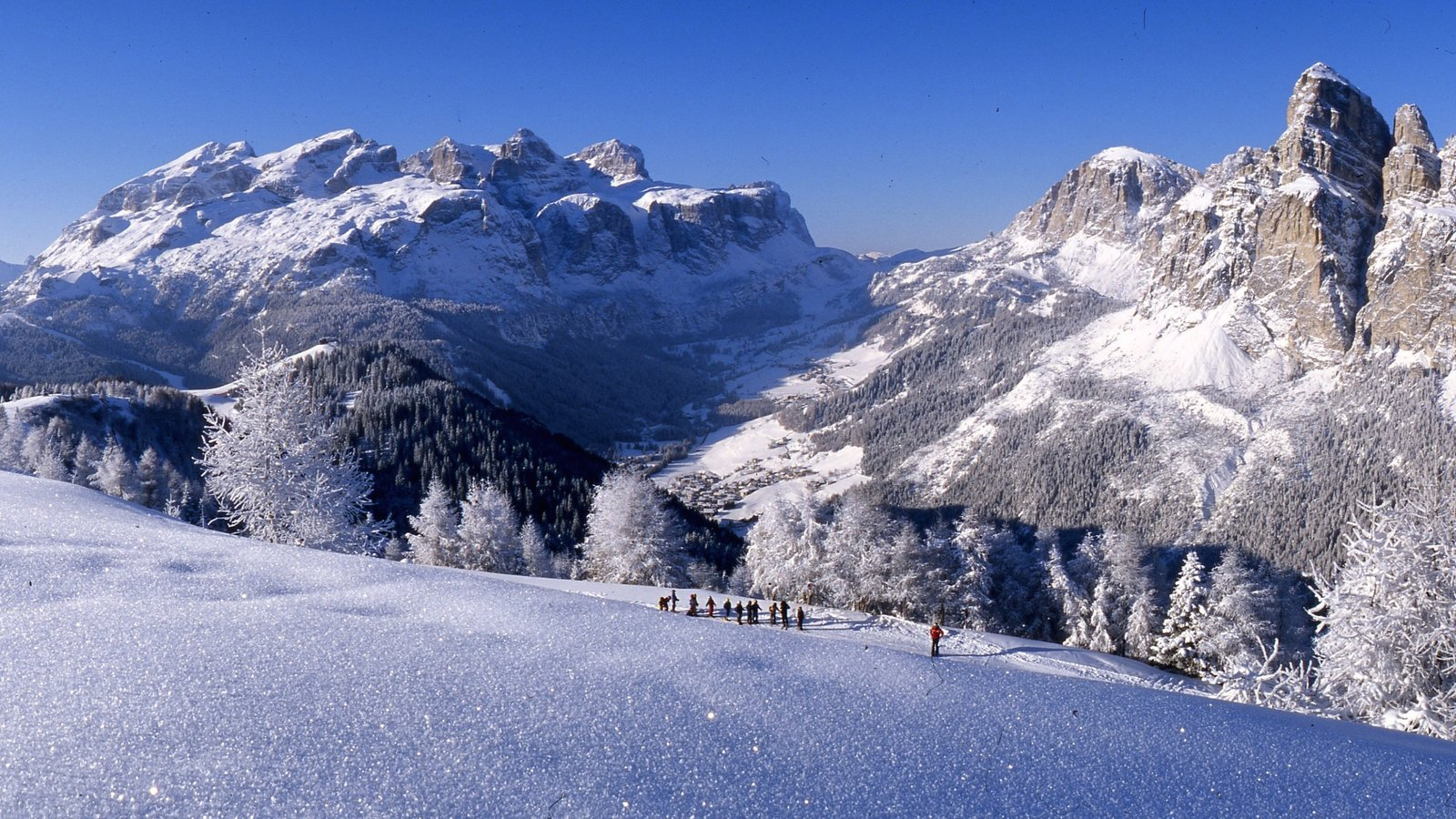 Alta Badia which includes a gorge or canyon, snow and mountains