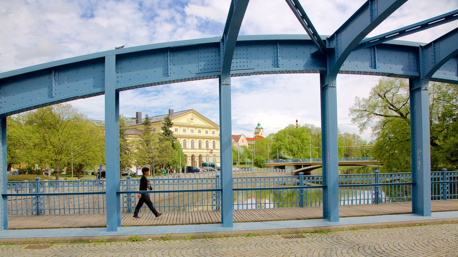 Ceske Budejovice showing a river or creek and a bridge as well as an individual femail
