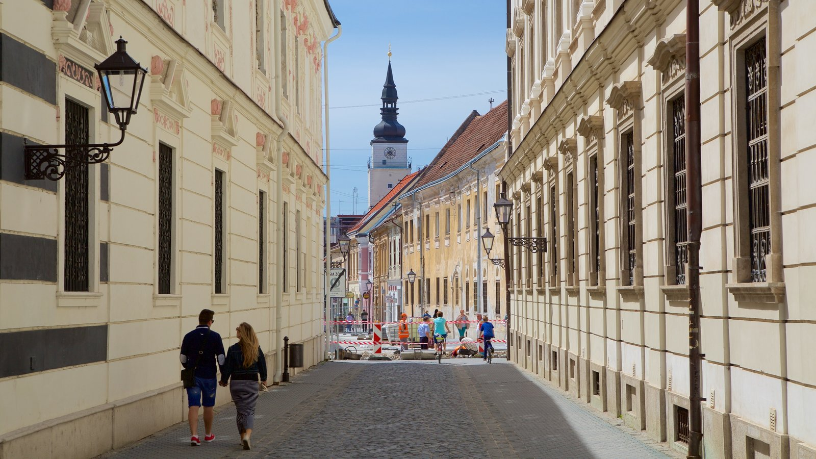 Trnava featuring street scenes as well as a couple