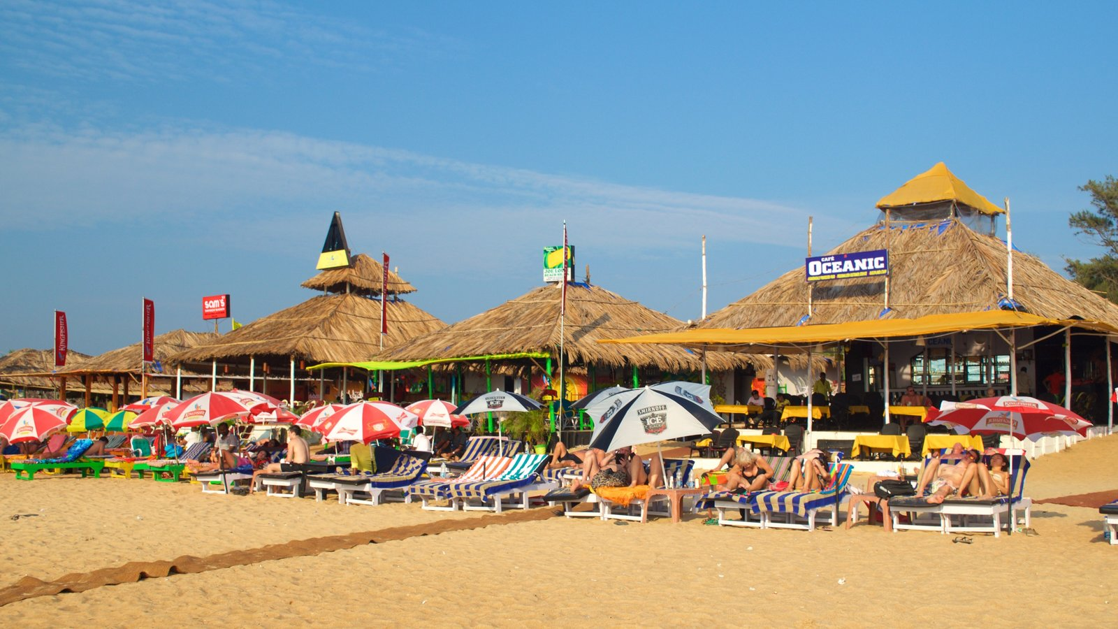 Baga Beach Showing A Beach Bar And A Beach