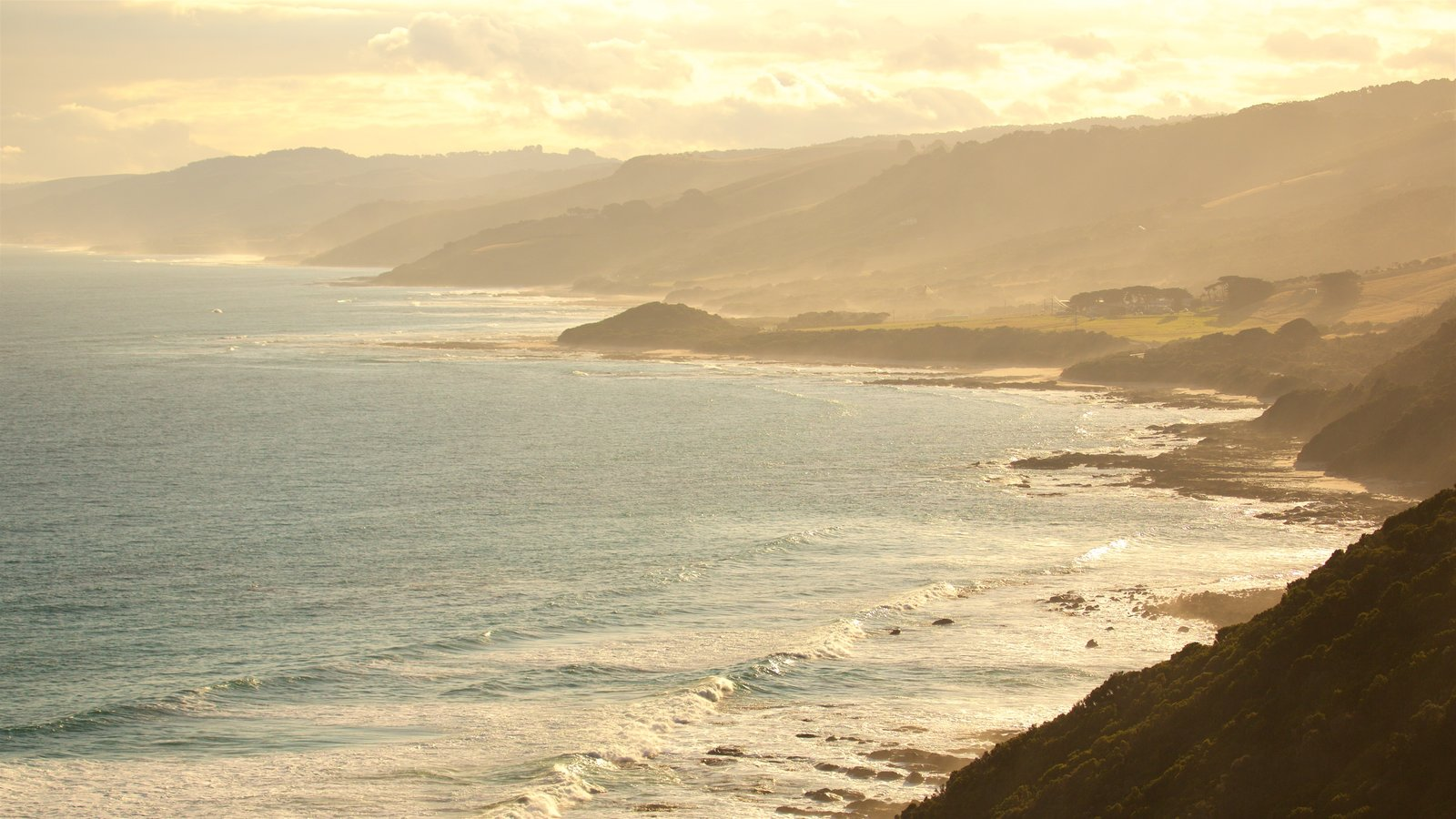 Great Ocean Road which includes mountains, general coastal views and a sunset