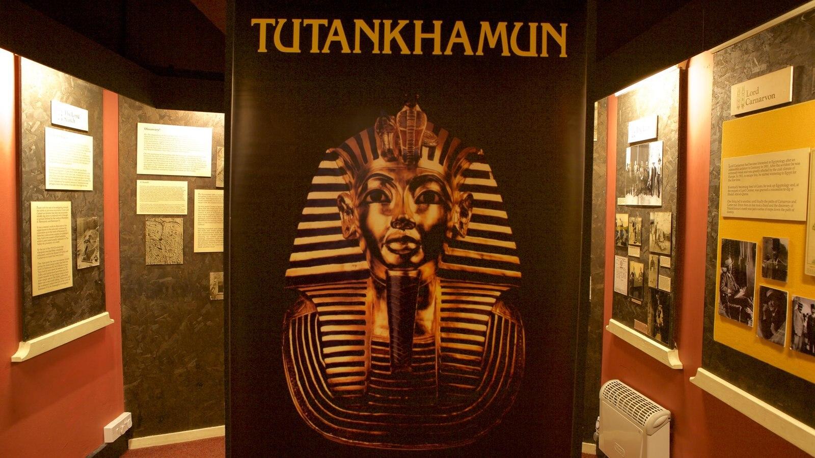 Tutankamon a exposição mostrando vistas internas e sinalização