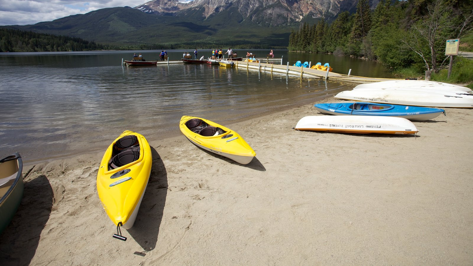 Jasper National Park which includes a sandy beach