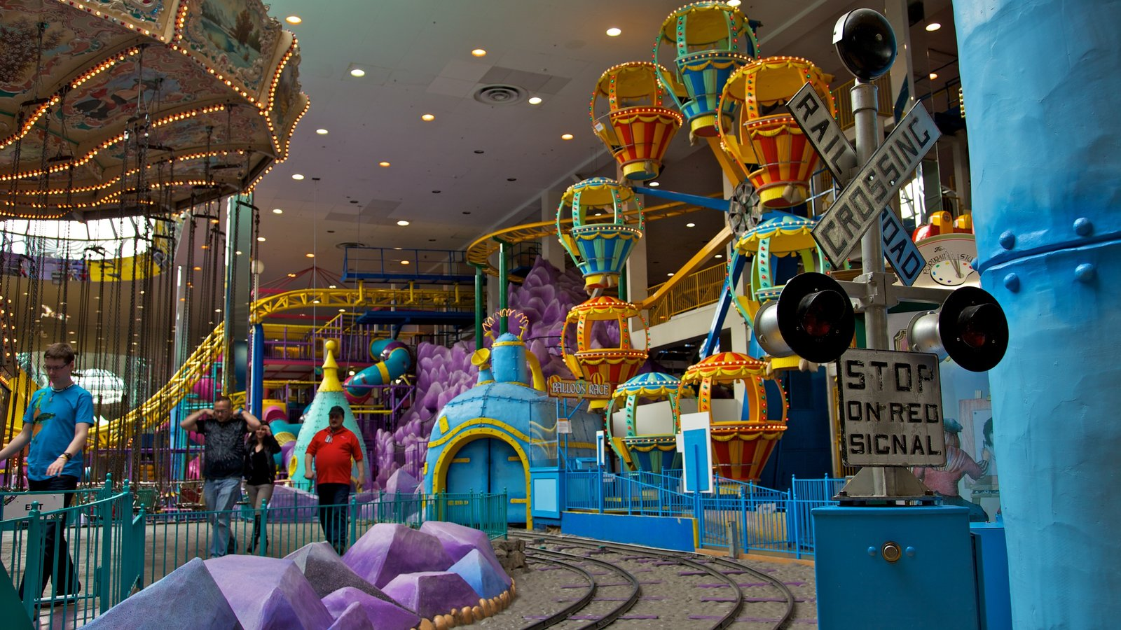 West Edmonton Mall which includes modern architecture, railway items and interior views