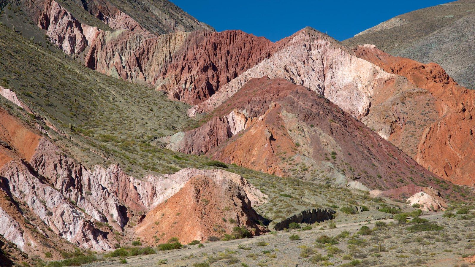 Purmamarca mostrando montanhas e paisagens do deserto