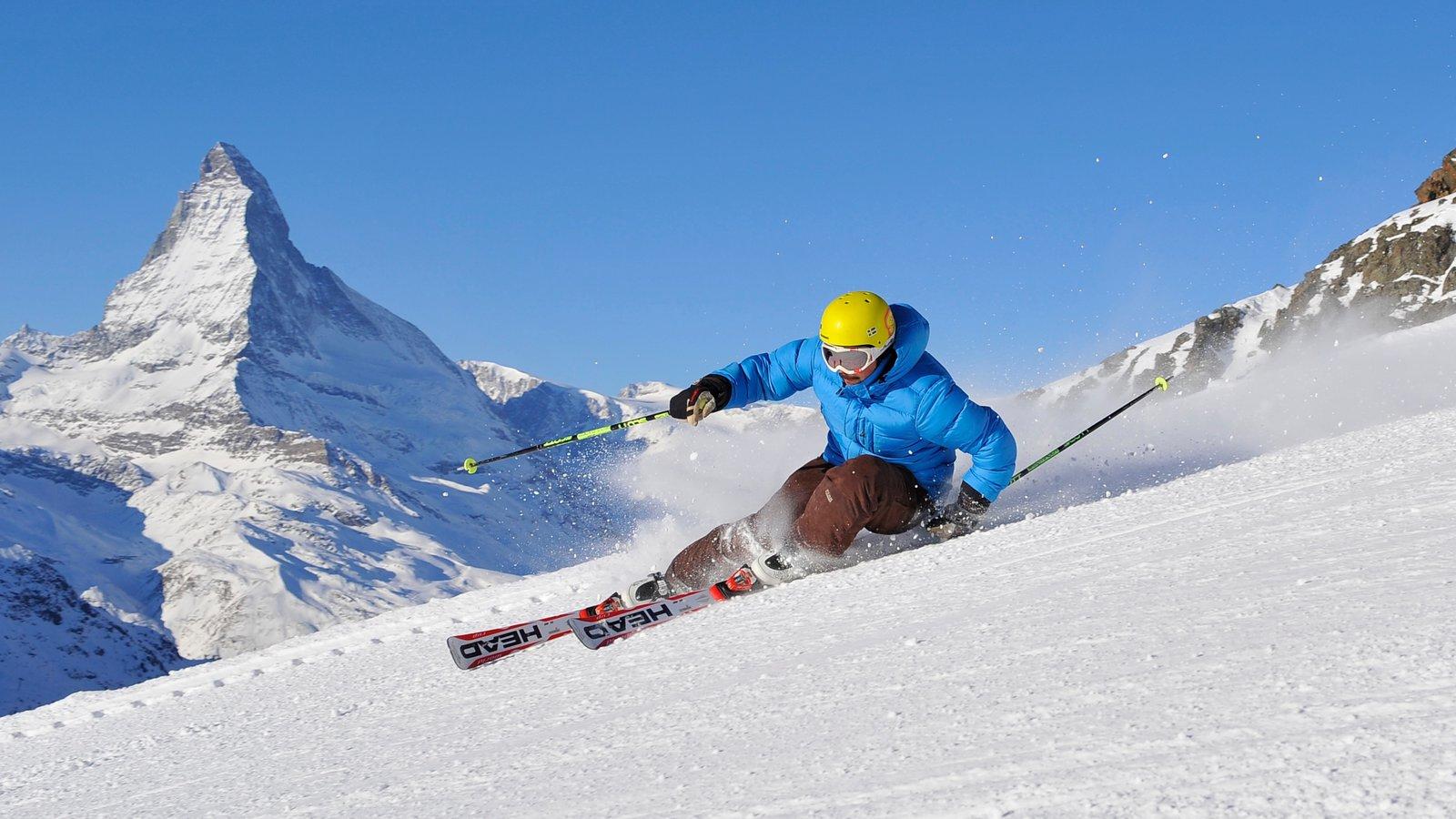 Matterhorn mostrando nieve, esquiar en la nieve y montañas
